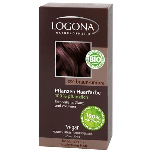 Logona, Растительная краска для волос, 100 г (8 оттенков) 090 Умбра темно-коричневый logona powder naturel brown краска растительная для волос тон 080 натурально коричневый 100 г