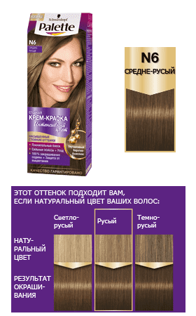 Schwarzkopf Professional, Краска для волос Palette Icc, 50 мл (40 оттенков) N6 Средне-русый краска для волос palette средне русый n6