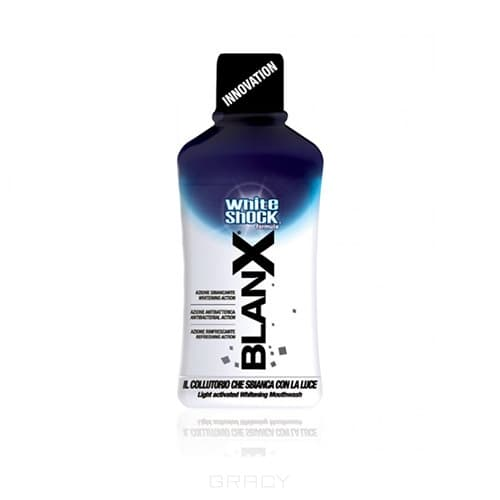 Blanx, Ополаскиватель с отбеливающим эффектом тройного действия White Shock mouthwash Вайт Шок, 500 мл ополаскиватель blanx white shock антибактериальный 500мл д полости рта