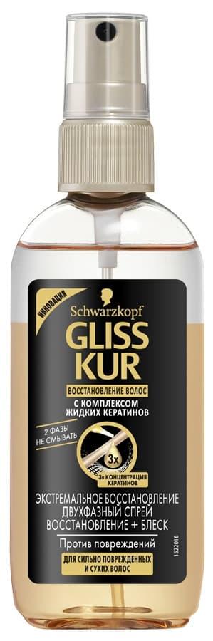 Gliss Kur, Двухфазный спрей Восстановление и блеск Экстремальное восстановление, 100 млНесмываемые спреи<br><br>