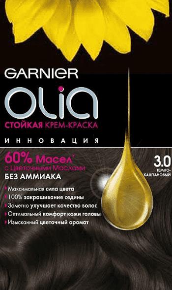 Garnier, Краска для волос Olia, 160 мл (24 оттенка) 3.0 Темно-каштановый garnier краска для волос olia 160 мл 24 оттенка 8 31 светло русый кремовый 160 мл