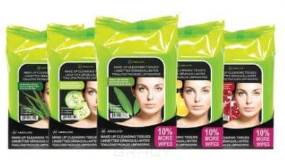 Купить Absolute New York, Влажные салфетки для удаления макияжа Absolute! MakeUp Cleansing Tissue (5 видов), 33 шт/уп, 33 шт. Green Tea