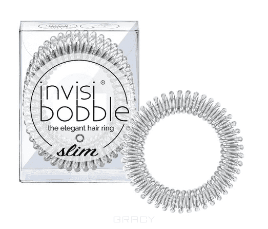 Invisibobble, Резинка для волос SLIM Chrome Sweet Chrome серебряный, 3 шт invisibobble резинка для волос slim chrome sweet chrome серебряный 3 шт