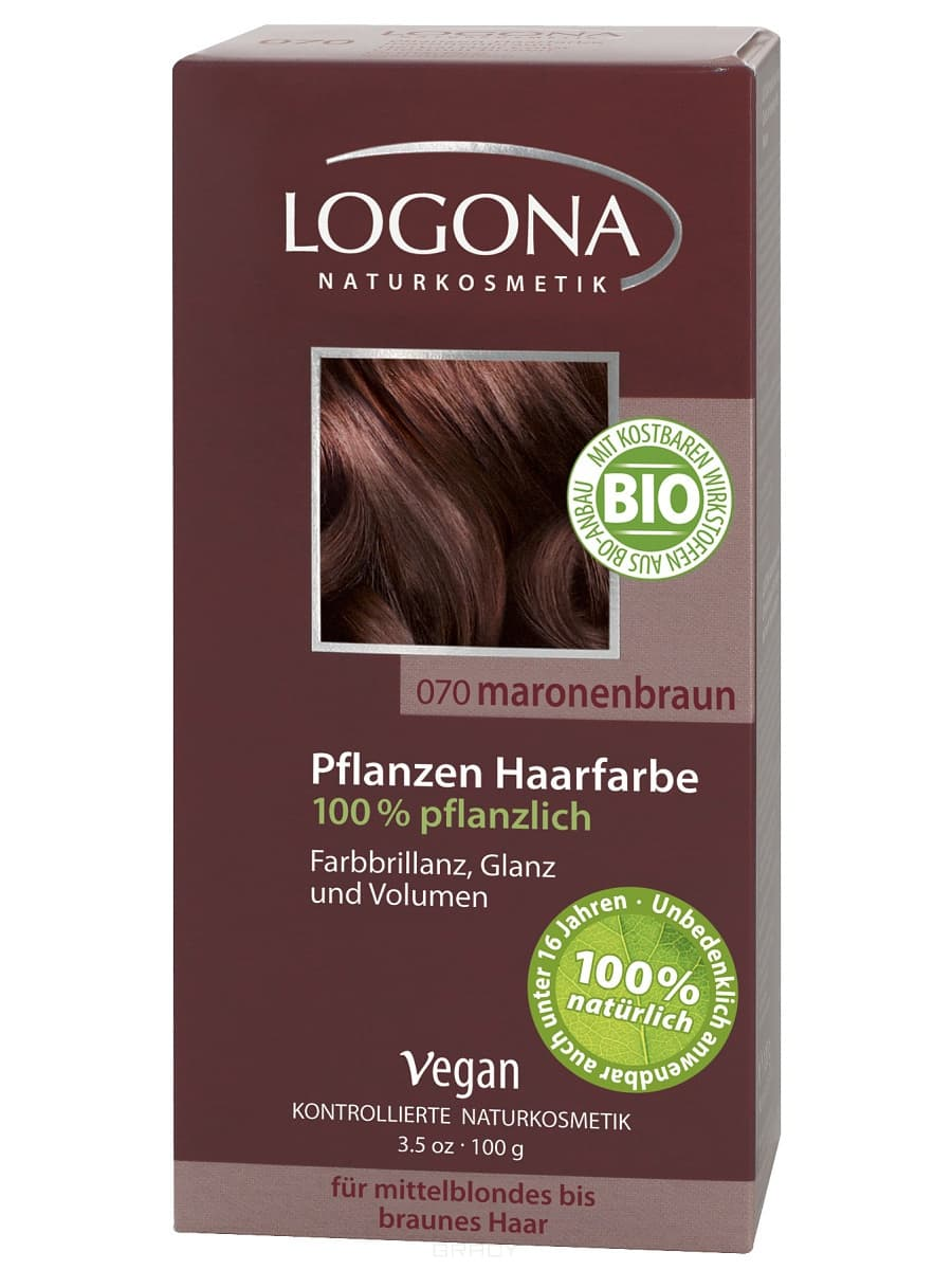 Logona, Растительная краска для волос, 100 г (8 оттенков) 070 Каштан коричневый logona powder naturel brown краска растительная для волос тон 080 натурально коричневый 100 г