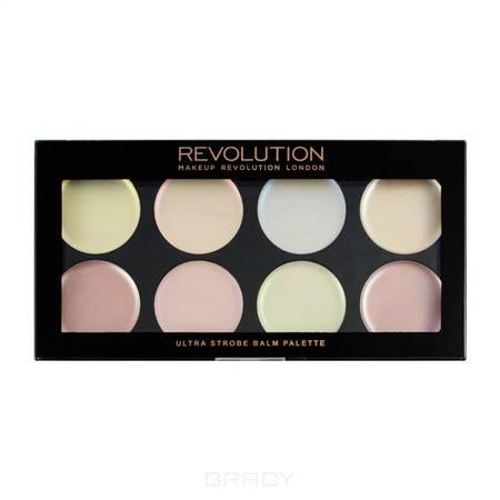 MakeUp Revolution, Палетка кремовых хайлайтеров для стробинга Ultra Strobe Balm Palette, 12 гр