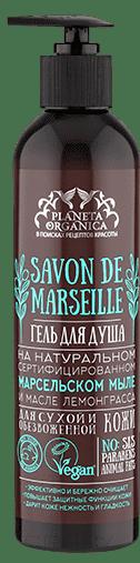 Гель для душа на масресльском мыле и масле лемонграсса для сухой и обезвоженной кожи Savon de Marseille, 400 млГель для душа на натуральном сертифицированном марсельском мыле подарит коже деликатное очищение и комфорт, основанный на тщательно подобранных увлажняющих и питающих кожу компонентах. &#13;<br>&#13;<br>&#13;<br> Не содержит SLS, парабенов и жиров животного происхождения, что подтверждено международным сертификатом VEGAN. &#13;<br> &#13;<br> Нежная пена марсельского мыла, полученная путем естесственного омыления оливкового масла с добавленим морской соли, очищаяет и укрепляет кожу, восстанавливает ее естественные защитные функции. Масло лемонграсса повышает уровень эластичности кожи, дарит ей легкий свежий аромат, пробуждающий хорошее настроение.&#13;<br> &#13;<br> ИНГРЕДИЕНТЫ &#13;<br>Aqua, Potassium Oleate (омыленное оливковое масло), Cocamidopropyl Betaine, Lauryl Glucoside, Maris Sal (морская соль), Cymbopogon Citratus Leaf Oil (масло лемонграсса), Pelargonium Graveolens Oil (эфирное масло герани), Lippia Citriodora Flower Water (органический экстракт вербены), Cedrus Deodara Wood Oil (масло кедра), Rosmarinus Officinalis Leaf Oil ...<br>