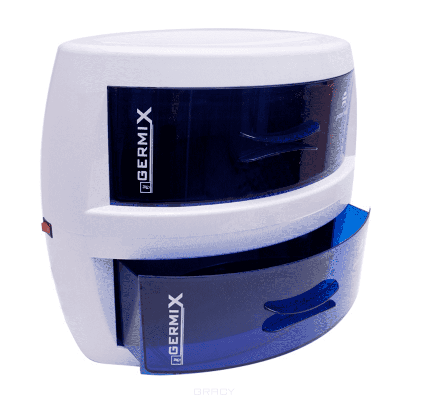 Стерилизатор ультрафиолетовый Germix, двухкамерныйСтерилизатор ультрафиолетовый Germix, двухкамерный предназначен для дисбактериальной обработки маникюрного, педикюрного и парикмахерского инструмента, а также для хранения стерилизованного маникюрного и педикюрного инструмента. Два ящика позволяют стерилизовать и хранить в 2 раза больше инструмента на единице пространства.&#13;<br>&#13;<br>  &#13;<br>&#13;<br>&#13;<br>Рекомендуемое время обработки: 40-60 минут. Содержит бактерицидную лампу. Аппарат гарантирует очищение от бактерий, которые обычно присутствуют на рабочих инструментах, и обеспечивает соблюдение гигиенических норм. Germix устроен таким образом, чтобы защитить мастера и клиента от нежелательного ультрафиолетового излучения. Ультрафиолетовое излучение автоматически прекращается, как только выдвигается нижний ящик с инструментами, и включается при закрытии этого же ящика, не требуя переключения основного выключателя. Cтерилизатор Germix может применяться в косметических, маникюрных или педикюрных кабинетах, а также в парикмахерских для дезинфекции и хранения...<br>