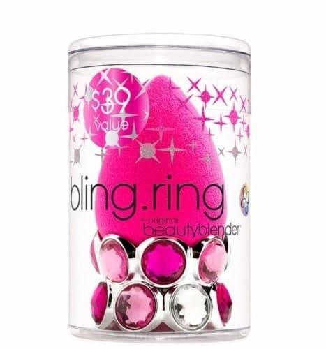 Спонж для макияжа розовый на подставке в форме кольца Bling Ring women sequin backpack mochila lentejuelas teenager girl school bags bling bling lady backpacks bolsa feminina sac a main femme