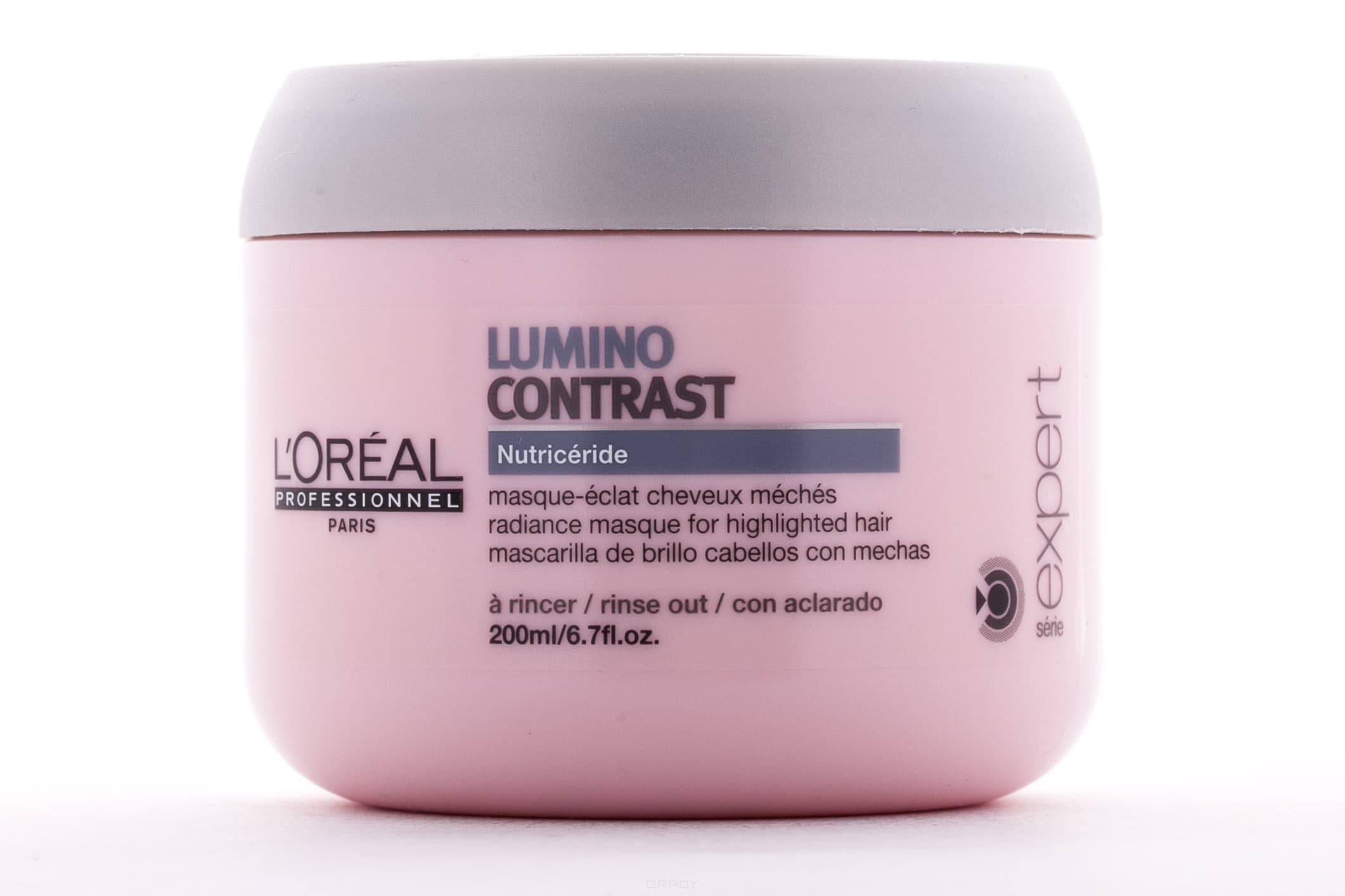 Маска-сияние для мелированных и колорированных волос Serie Expert Lumino Contrast Masque , 200 млНазначение: &#13;<br> &#13;<br>  Маска предназначена для полноценного ухода за мелированными волосами, интенсивного питания и глубокого увлажнения волос. &#13;<br>    &#13;<br>   &#13;<br>    &#13;<br>   Действие:&#13;<br> &#13;<br>   &#13;<br>    &#13;<br>   &#13;<br> &#13;<br>  Новая маска с активной действующей формулой, благодаря технологии Nutriceride, глубоко проникает в структуру каждого волоса, сохраняя липидный баланс мелированных прядей. Регулярное употребление маски позволяет надолго сохранить яркий цвет и сияющий блеск мелированных прядей, интенсивно восстанавливает волосы, делает их крепкими, гладкими и эластичными. &#13;<br>    &#13;<br>   &#13;<br>    &#13;<br>   Состав:&#13;<br> &#13;<br>   &#13;<br>    &#13;<br>   &#13;<br> &#13;<br>  Технология NUTR CER DE: подчёркивает цветовой контраст мелирования, интенсивно питает обесцвеченные участки волос, придает волосам дополнительный блеск. &#13;<br>    &#13;<br>    &#13;<br>      &#13;<br>     Применение:&#13;<br> &#13;<br>   &#13;<br>    &#13;<br>   &#13;<br> &#13;<br>  Небольшое количество средства бережными движениями вмассировать в слегка увлажненные волосы и кожу головы в течение 5 минут. Смыть большим количеством воды. Для достижения...<br>