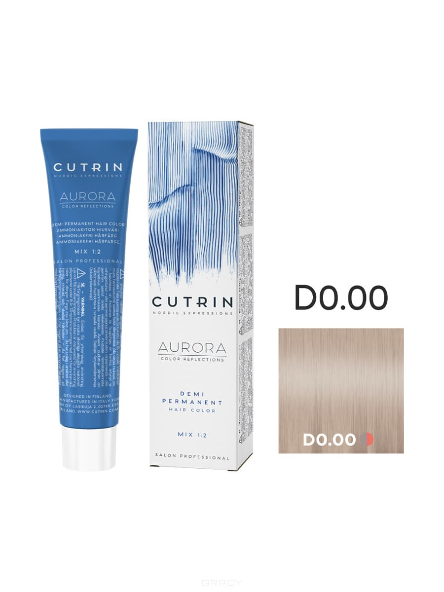 Cutrin, Безаммиачная краска Aurora Demi (Новый дизайн Reflection Demi), 60 мл (55 оттенков) D 0.00 Прозрачный тон цены онлайн