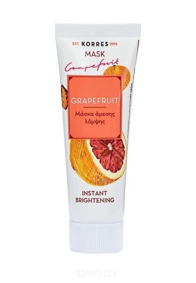 Korres, Маска для мгновенного улучшения цвета Грейпфрут, 16 мл korres маска регенерирующая для мгновенного омолаживающего эффекта с арбузом 18 мл