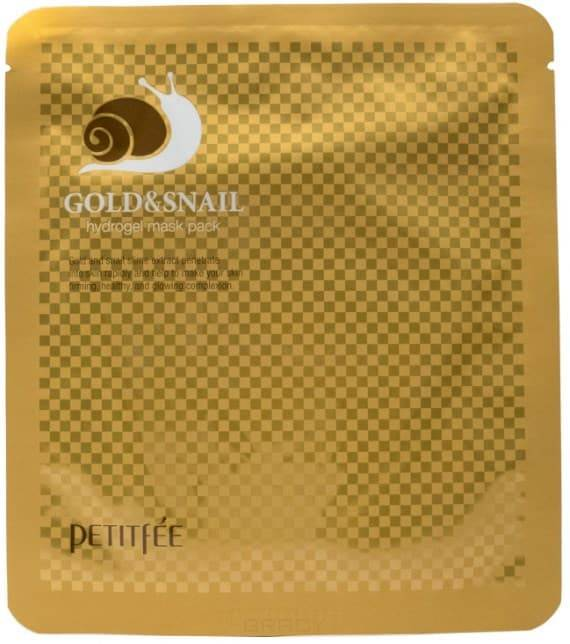 Petitfee, Hydrogel Mask Pack Гидрогелевая маска для лица с коллоидным золотом и муцином улитки Gold & Snail Hydrogel Mask Pack, 32 г гидрогелевая маска золото и экстракт улитки