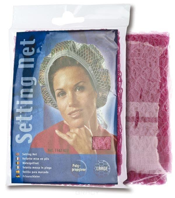Sibel, Сеточка-косынка на бигуди крупная, розовая цена и фото