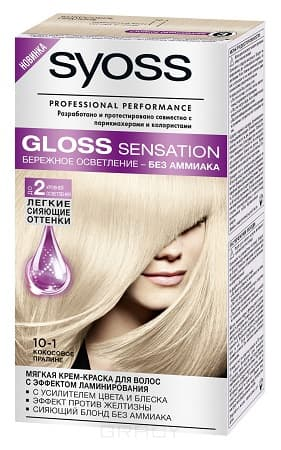 Syoss, Крем-краска для волос Gloss Sensation без аммиака, 115 мл (20 оттенков) 10-1 Кокосовое пралине syoss gloss sensation краска для волос тон 10 51 белый шоколад 115 мл
