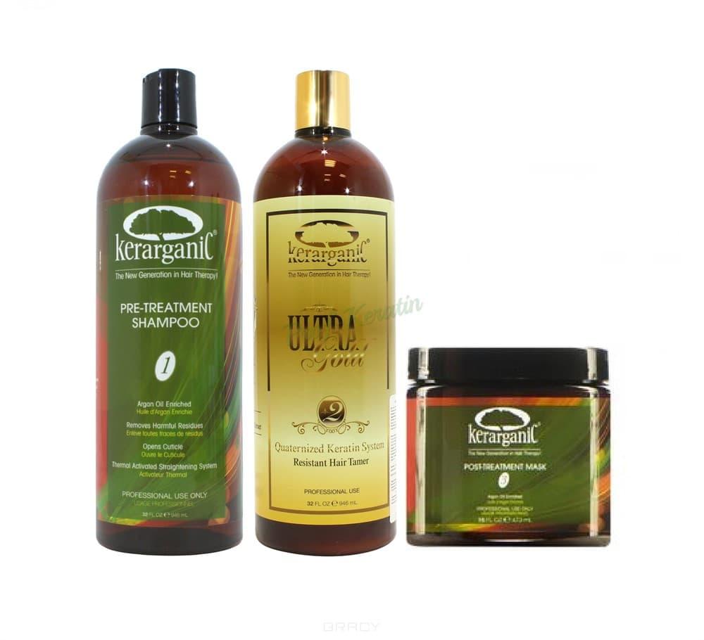 Купить Kerarganic, Набор для кератинового выпрямления жестких волос Ultra Gold Keratin, 3 флак. по 60 мл