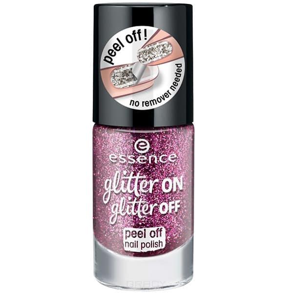 Essence, Лак для ногтей Glitter On Glitter Off, 8 мл (6 оттенков) №03, лиловый лак для ногтей essence glitter on glitter off 02 8 мл