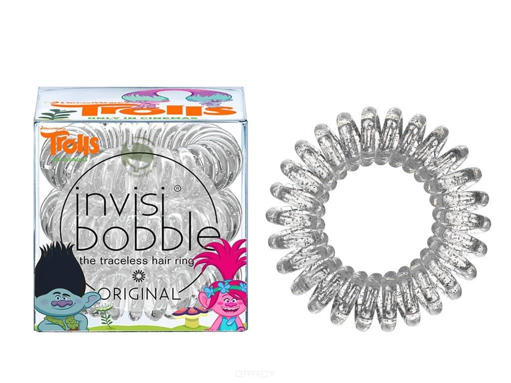 Invisibobble, Резинка для волос прозрачная Original Trolls (3 шт)Зажимы, шпильки, резинки<br><br>
