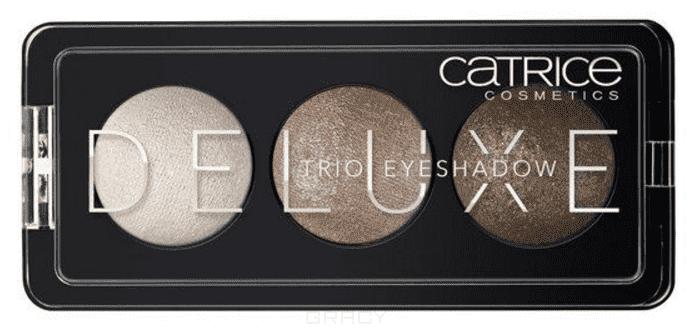 Тени для век Deluxe Trio Eyeshadow (2 оттенка)Премиум-трио. Три идеально подобранных тона в каждой палетке теней обладают интенсивным цветом и потрясающей стойкостью. Запеченные тени CATRICE Deluxe Trio Eyeshadow предлагают впечатляющую палитру оттенков и роскошный шиммерный финиш. Представленные в светло-коричневых, серых и баклажановых тонах, они помогут создать эффектный макияж глаз с мягкими цветовыми переходами.<br>