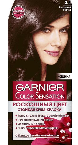 Garnier, Краска для волос Color Sensation, 110 мл (25 оттенков) 3.0 Роскошный каштан garnier краска для волос color sensation 110 мл 25 оттенков 10 21 перламутровый шелк