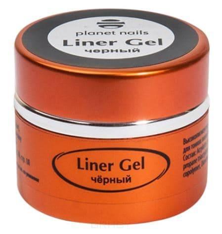 Planet Nails, Гель-краска для тонких линий Liner Gel Планет Нейлс (4 оттенка), 5 гр, 5 гр, черная фото