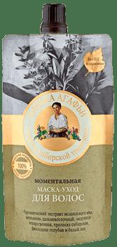 Маска для волос Моментальная Банька Агафьи, 100 млОписание:&#13;<br> &#13;<br> Благодаря целебным свойствам сибирских трав маска моментально восстанавливает естественный блеск и эластичность волос. Щедро, питает возвращает волосам мягкость уже после первого применения.&#13;<br> &#13;<br> Женьшень дальневосточный содержит витамины, микроэлементы, способствует росту и восстановлению волос. Пролеска сибирская содержит сапонины - натуральные моющие вещества, бережно очищает волосы. Белый лен предотвращает ломкость и сечение волос. Органический экстракт исландского мха тонизирует кожу головы, а филлодоце голубая повышает защитные свойства кожи головы и волос. Медуница лекарственная содержит минеральные вещества, укрепляет корни волос.&#13;<br> &#13;<br> Содержит 100% натуральные ингредиенты.&#13;<br> &#13;<br> Состав:&#13;<br> &#13;<br> Aqua, Cetearyl Alcohol, Behentrimonium Chloride, Panax Ginseng Root Extract (экстракт корня дальневосточного женьшеня), Pulmonaria Officinalis Extract (экстракт медуницы лекарственной), Scilla Sibirica Extract (экстракт пролески сибирской), Organic Linum Usitatissimum (Linsee...<br>