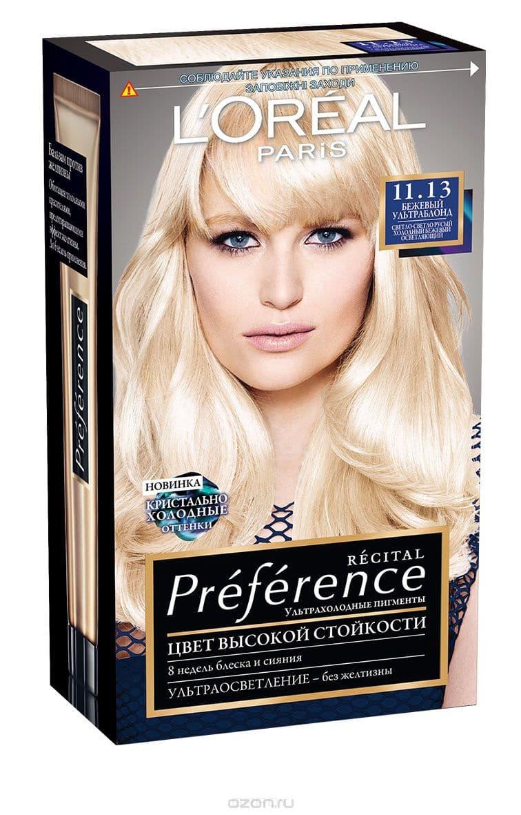 LOreal, Краска для волос Preference (27 оттенков), 270 мл 11.13 Ультраблонд бежевыйОкрашивание<br><br>