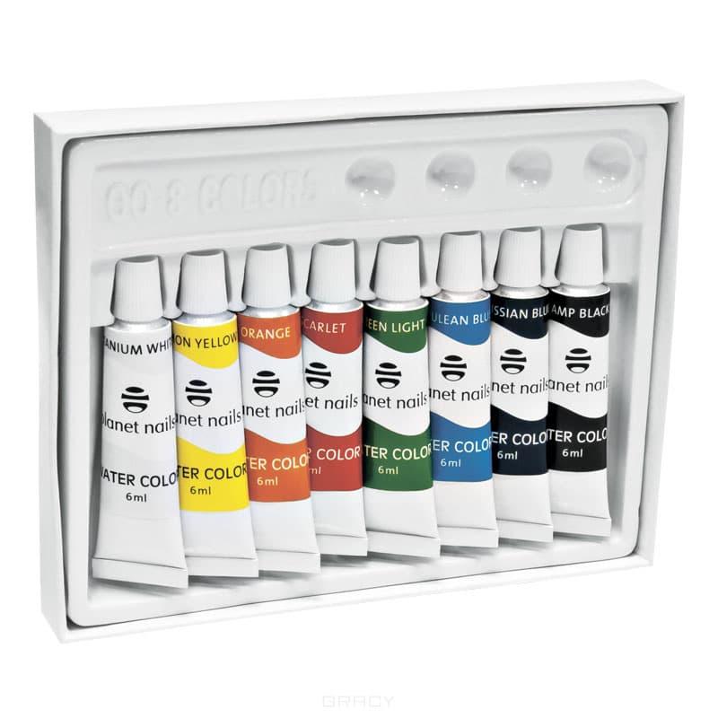 Planet Nails, Краска акриловая на водной основе, 6 мл, 8 штКраски и карандаши для ногтей<br><br>