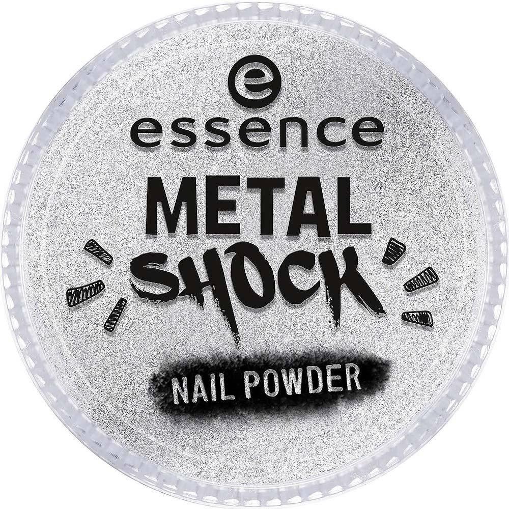 Essence, Эффектная пудра для ногтей Metal Shock Nail Powder, 9 гр (6 оттенков) №01, серебряный цена