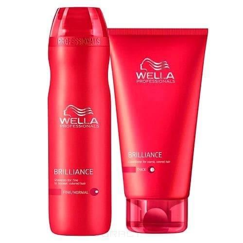 Wella, Набор Шампунь 250 мл + Бальзам 200 мл для окрашенных нормальных и тонких волосBrilliance Line - серия для окрашенных волос<br><br>