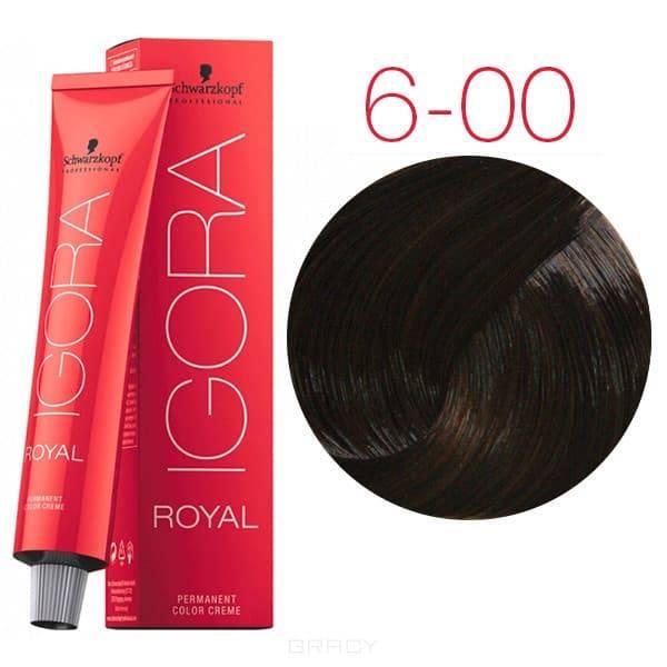 Schwarzkopf Professional, Краска для волос Igora Royal, 60 мл (93 оттенка) 6-00 Темный русый натуральный экстраОкрашивание<br>Согласно исследованиям Procter &amp;amp; Gamble, 88% представительниц прекрасного пола уверены, что их эмоциональное равновесие и уверенность в себе зависит от состояния волос. 79% считают, что окрашивание волос повышает самооценку. 81% убеждены, что изменени...<br>