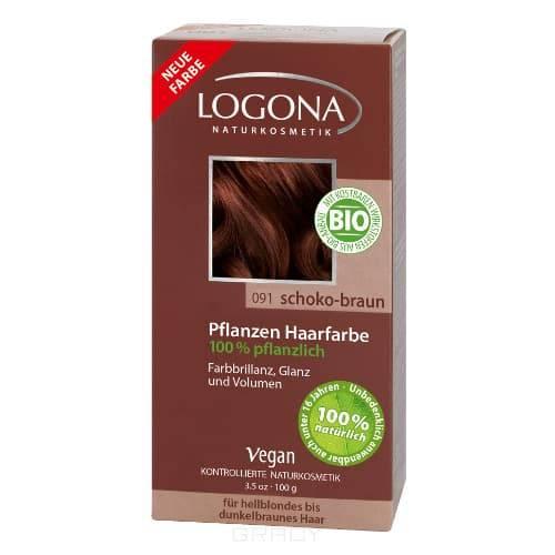 Logona, Растительная краска для волос, 100 г (8 оттенков) 091 Шоколадно-коричневый logona powder naturel brown краска растительная для волос тон 080 натурально коричневый 100 г