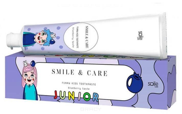Smile Care, Детская зубная паста со вкусом черники Funny Kids Toothpaste Blueberry, 30 мл pearl drops зубная паста молодая улыбка каждый день youthful smile 50 мл