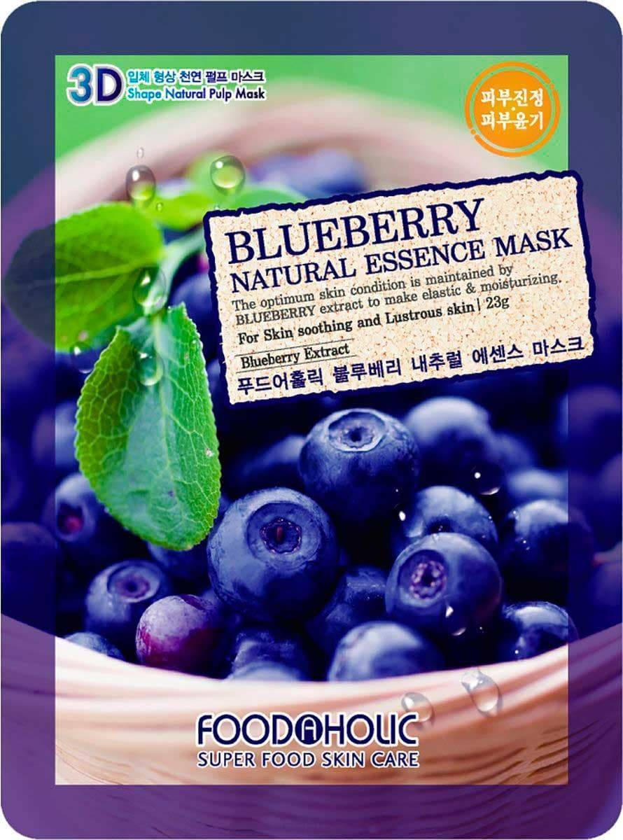 FoodaHolic, Natural Essence Mask Blueberry Тканевая маска для лица 3D с натуральным экстрактом черники, 23 мл the saem natural blueberry mask sheet маска тканевая с экстрактом черники 21 мл