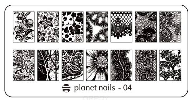 Planet Nails, Пластина для Stamping Nail Art (15 видов) Пластина для Stamping Nail Art - 04 portable stainless steel nail art manicure set nail care tools with nail cutter clipper file scissor eyebrow tweezers