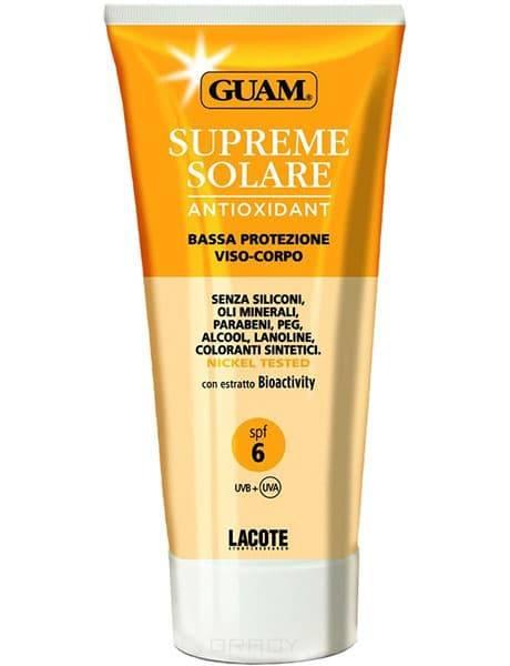 Солнцезащитный крем для лица и тела Solare, 150 млОписание:&#13;<br>&#13;<br>  &#13;<br>&#13;<br>&#13;<br>&#13;<br>  Солнцезащитный крем для лица и тела Supreme Solare- Подходит для загорелой, смуглой кожи, не склонной к обгоранию (IV, V, VI фототипы).Активные комплексы крема способствуют появлению ровного загара и обеспечивают минимальную защиту от воздействия UVA и UVB лучей. Препарат нейтрализует свободные радикалы, предупреждая старение, смягчает кожу, защищая ее от морской и хлорированной воды, предотвращает обезвоживание кожи, насыщая ее влагой и питательными маслами. Идеальное сочетание свойств морской воды и водорослейGUAM, обогащенных аминокислотами и минеральными солями, обеспечивают полноценный уход за кожей. Особо рекомендуется в качестве средства, предупреждающего фотостарение (в том числе в условиях города).Крем солнцезащитный гуамимеет легкую текстуру, приятный аромат, быстро впитывается, не оставляя ощущения жирности и липкости.&#13;<br>&#13;<br>  Способ применения:&#13;<br>&#13;<br>  Наносить на кожу лица и тела перед принятием солнечных процедур лёгкими массажными движениями до п...<br>