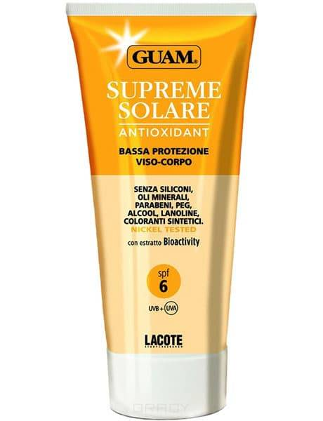 Guam, Солнцезащитный крем для лица и тела Solare, 150 мл, 150 мл, SPF 6. 0759 солнцезащитный крем гель для лица и тела spf10 кора 150 мл активатор