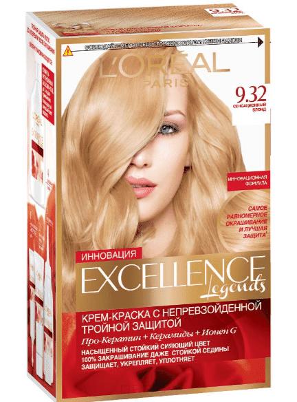 Купить L'Oreal, Краска для волос Excellence Creme (32 оттенка), 270 мл 9.32 Сенсационный блонд