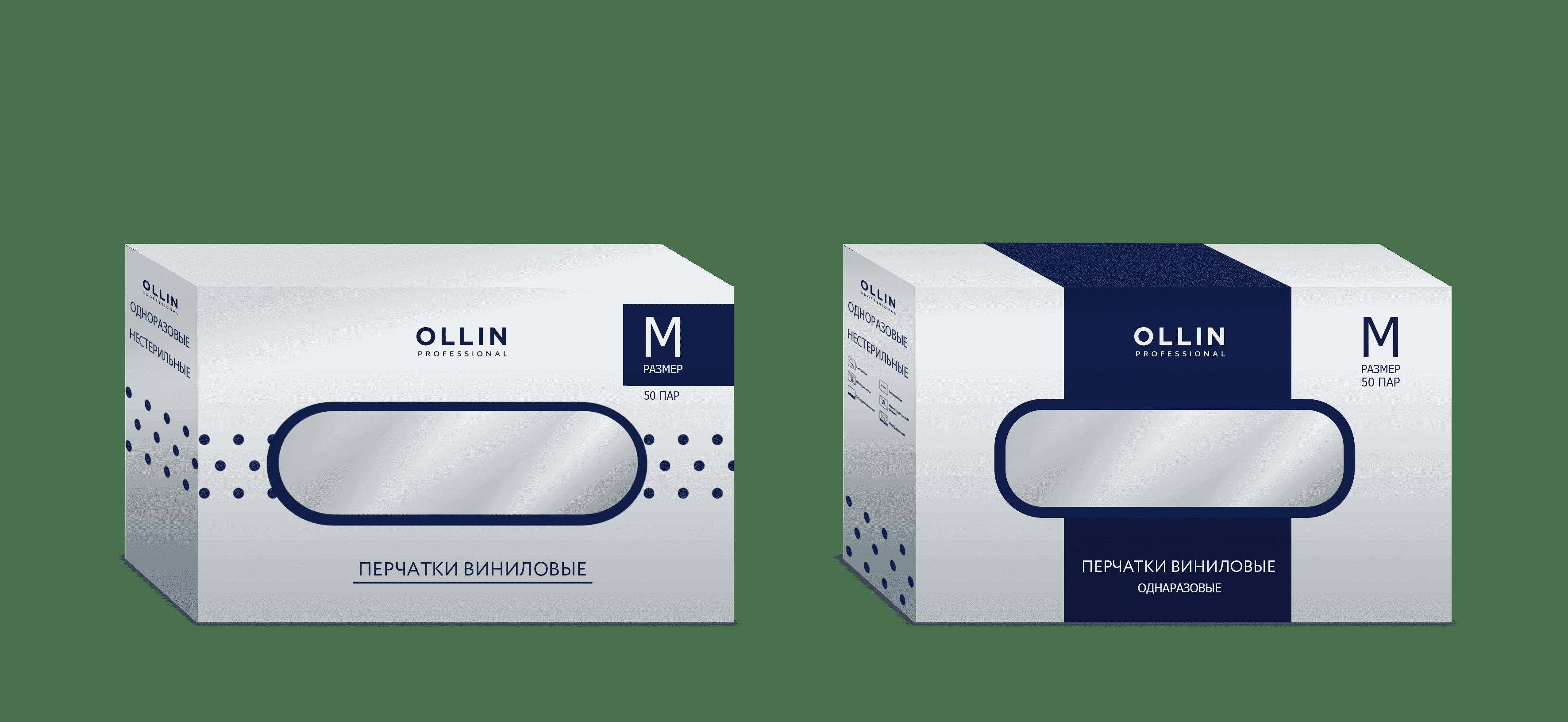 OLLIN Professional, Перчатки виниловые неопудренные бесцветные (3 размера) 100шт/уп, 100шт./уп. Размер M цена и фото