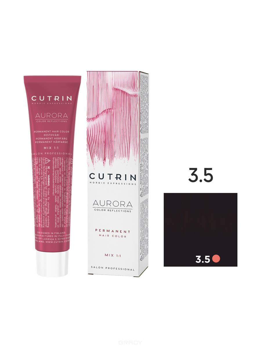 Cutrin, Кутрин краска для волос Aurora Аврора (SCC-Reflection) (палитра 97 оттенков), 60 мл 3.5 Темная ночь cutrin кутрин краска для волос aurora аврора scc reflection палитра 97 оттенков 60 мл 0 03 прикосновение солнца