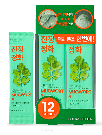 Купить Holika Holika, Пузырьковая маска для лица с полынью Pure Essence Mugwort Bubble Cleansing Pack, 5 г*12 шт
