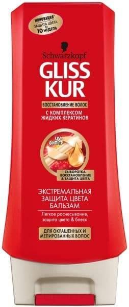 Gliss Kur, Бальзам Блеск и защита цвета для окрашенных и мелированных волос, 200 млШампуни и кондиционеры Глисс Кур<br><br>