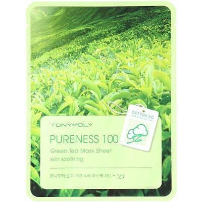 Tony Moly, Маска успокаивающая с экстрактом зеленого чая Pureness 100 Green Tea Mask Sheet, 21 млМаски для лица<br><br>