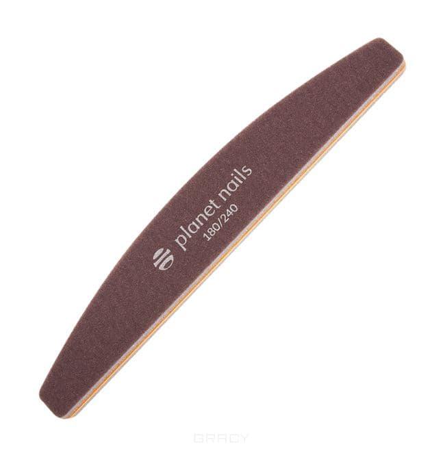 Купить Planet Nails, Шлифовка для ногтей Sponge полукруглая коричневая 180/240 Планет Нейлс