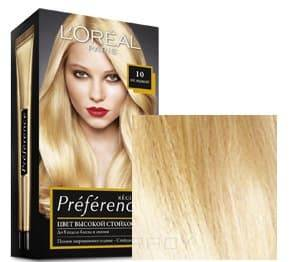 LOreal, Краска дл волос Preference (27 оттенков), 270 мл 10 Лос-Анжелес светло-светло русыйОкрашивание волос Casting, Preference, Prodigy, Excellence<br><br>