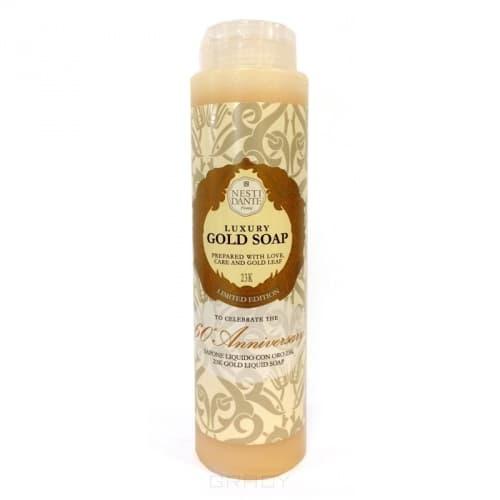 Гель для душа Юбилейный золотой Luxury Gold, 300 млЖидкое мыло и гели Nesti Dante производится исключительно из растительных масел и содержит 100% оливковое масло. Содержащееся в продуктах оливковое масло известно как  эликсир молодости  благодаря высокой концентрацией витамина Е, который помогает бороться с образованием свободных радикалов, повинных в старении кожи.<br>