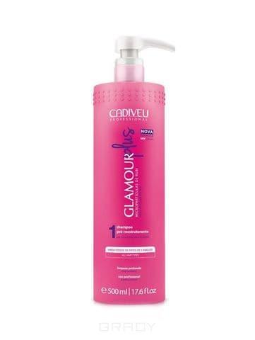Cadiveu Professional, Glamour Plus Шампунь для глубокой очистки Кадевью Гламур Плюс Pre Restructuring Shampoo, 500 мл cadiveu professional glamour plus набор для цистеирования волос кадевью гламур плюс 500 500 10х15 мл