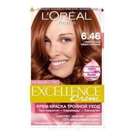 L'Oreal, Краска для волос Excellence Creme (32 оттенка), 270 мл 6.46 темно-русый медно-красный недорого