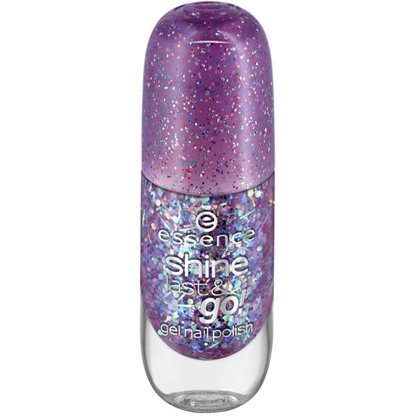 Essence, Лак для ногтей с эффектом геля Shine Last & Go, 8 мл (56 оттенков) №23, сиреневый с блестками фото