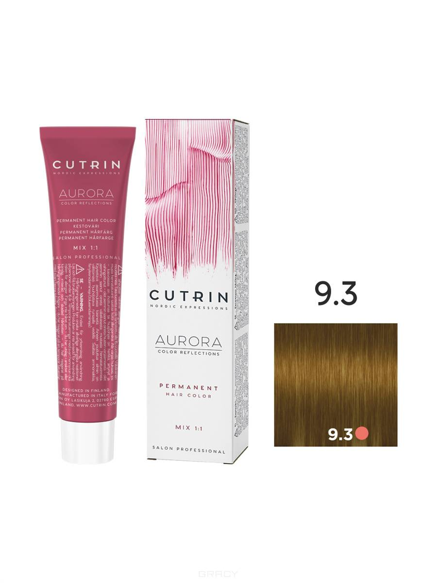 Фото - Cutrin, Кутрин краска для волос Aurora Аврора (SCC-Reflection) (палитра 97 оттенков), 60 мл 9.3 Очень светлый золотистый блондин cutrin кутрин краска для волос aurora аврора scc reflection палитра 91 цвет 60 мл 6 4 медный блондин