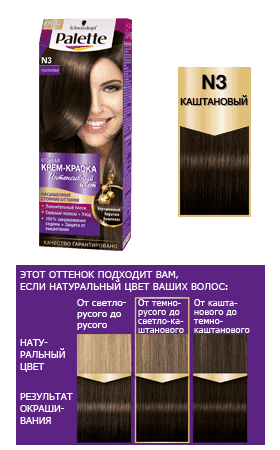 Купить Schwarzkopf Professional, Краска для волос Palette Icc, 50 мл (40 оттенков) N3 Каштановый
